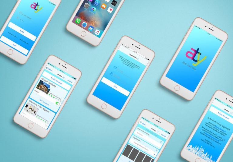 Mockup contenente diversi smartphone con le varie schermate dell'app sviluppata per il progetto App Tour You.