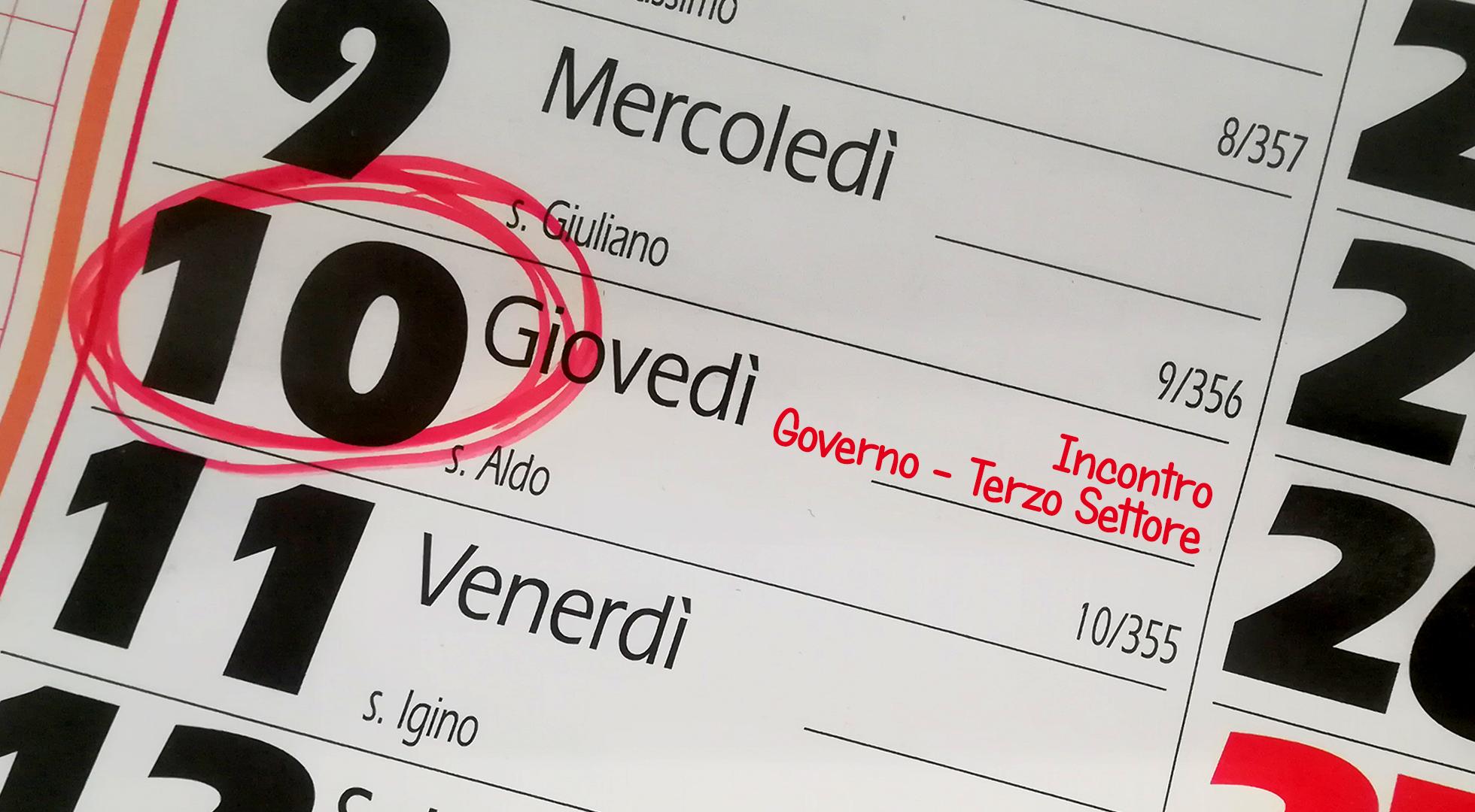 """Calendario con la data del 10 cerchiata e la scritta """"incontro Governo - Terzo Settore"""""""