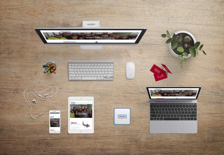Mockup del sito di aCapo riprodotto su vari dispositivi