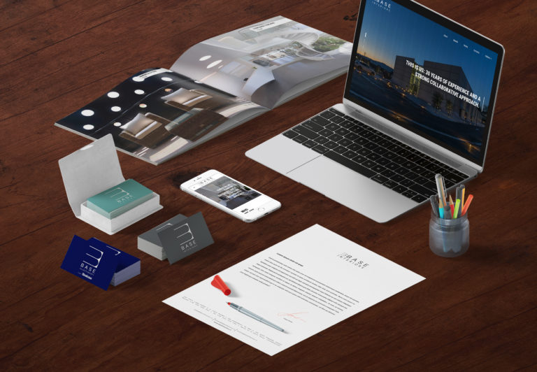 Mockup Corporate Identity e Website realizzati per Base Interiors