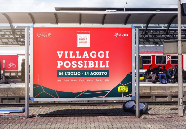"""Cartellone alla stazione per l'evento """"Villa Ada Roma incontra il mondo - estate 2017"""""""