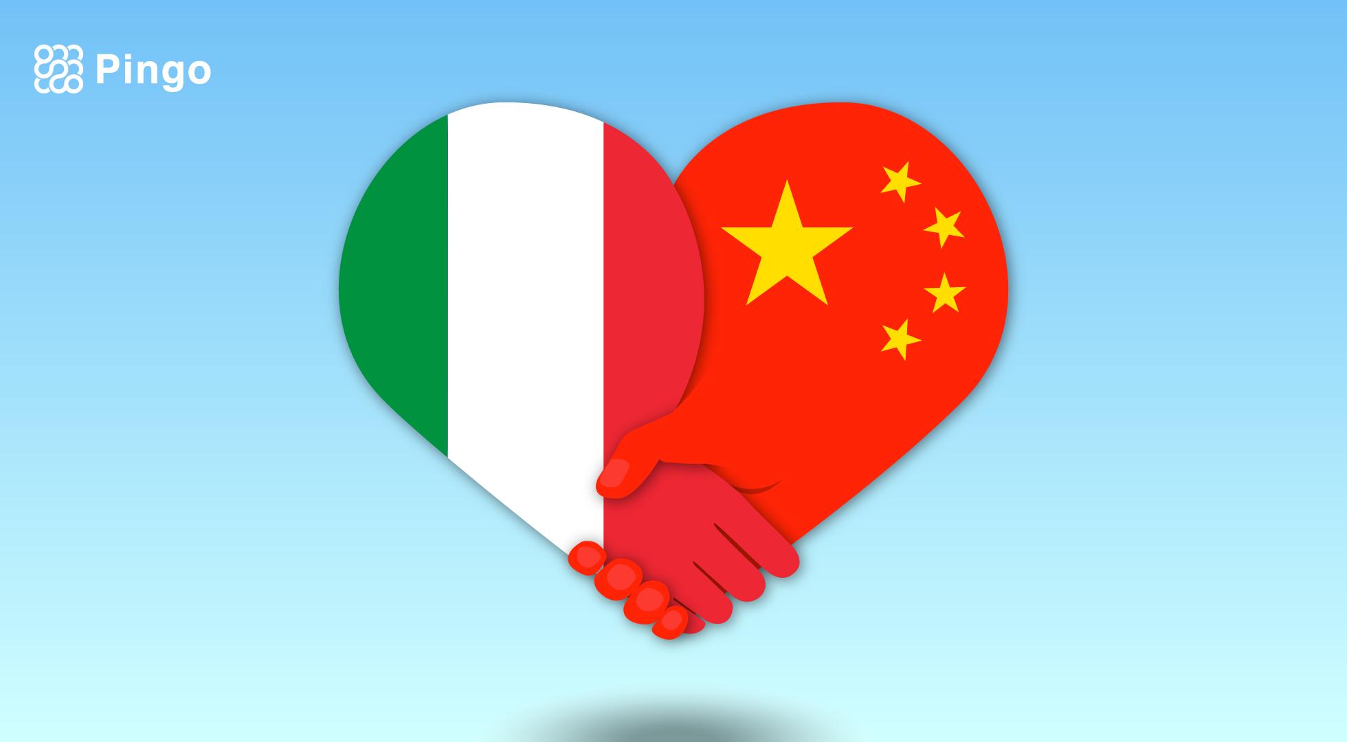 Cina e Italia: Un immagine contenente un cuore formato da due parti, con due mani che si stringono, uno con sfondo la bandiera cinese, uno con la bandiera Italiana